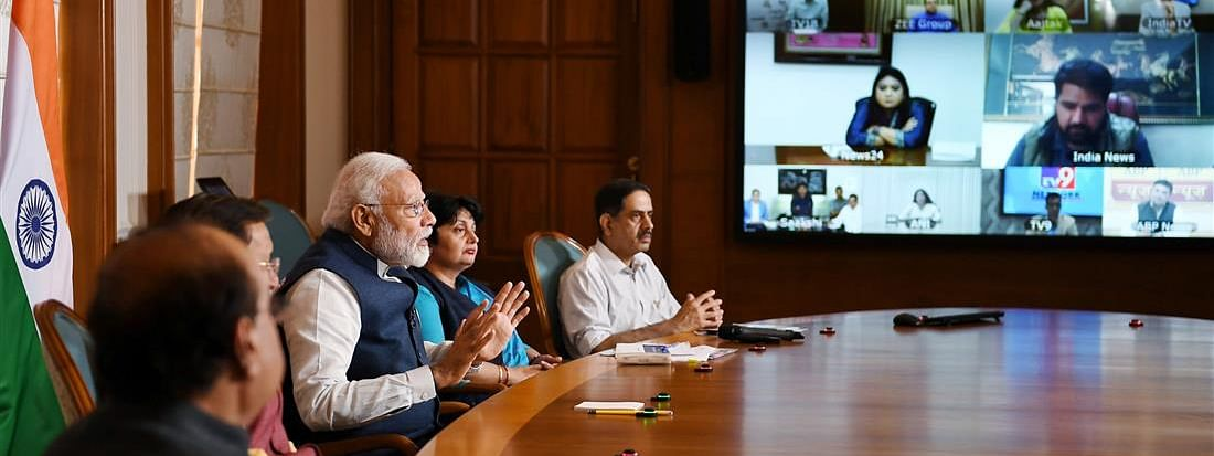 Prime Minister Narendra Modi interacting with key stakeholders from Electronic Media Channels through video conference to discuss the emerging challenges in light of the spread of COVID-19, in New Delhi on March 23, 2020.
