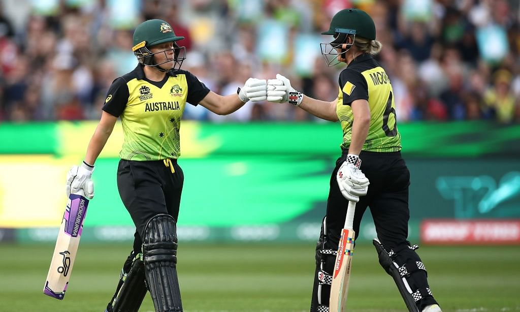 Women's T20 WC final: Australia ride Mooney, Healy 50s to post 184/4