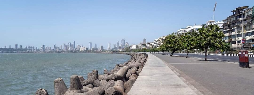 Marine Drive in Mumbai wears a deserted look as all of India was put under a lockdown as part of measures to contain the spread of the coronavirus, on March 24, 2020.