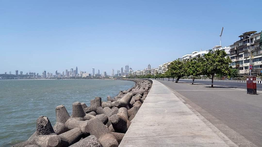 Marine Drive in Mumbai wears a deserted look during the lockdown imposed in the country as part of measures to contain the spread of the coronavirus/