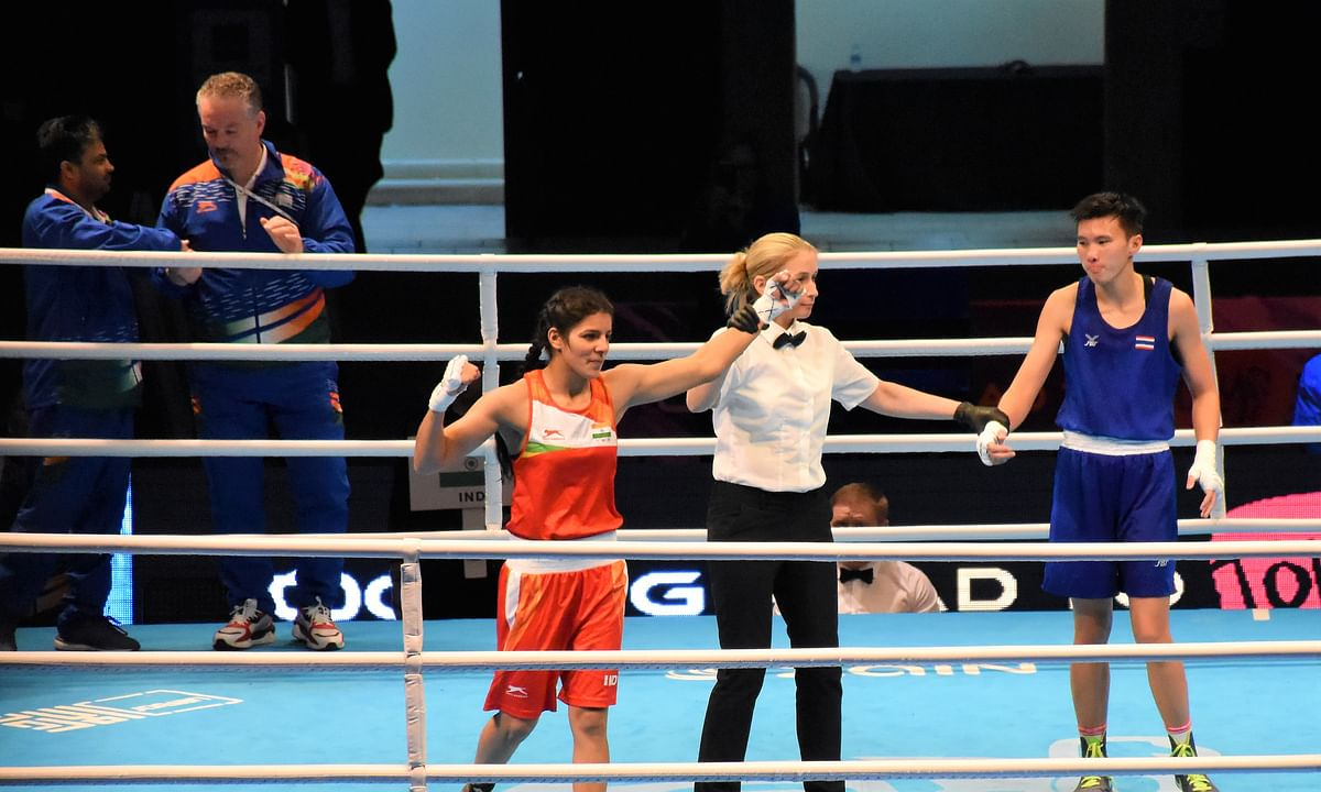 India's Sakshi Choudhary (57kg) after stunning fourth seed Nilawan Techasuep of Thailand 4-1 to enter the quarter-finals of the Asian/Oceanian Olympic Qualifiers in Amman, Jordan on March 4, 2020.