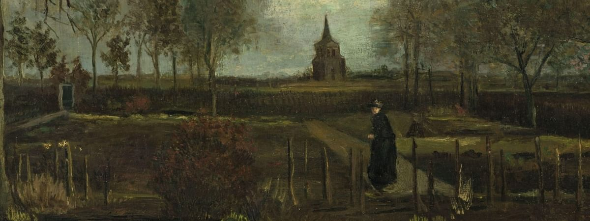 Vincent van Gogh's The Parsonage Garden at Nuenen in Spring. The 1884 work, oil on paper on panel (marouflage), is the only painting by Van Gogh in the Groninger Museum's collection.