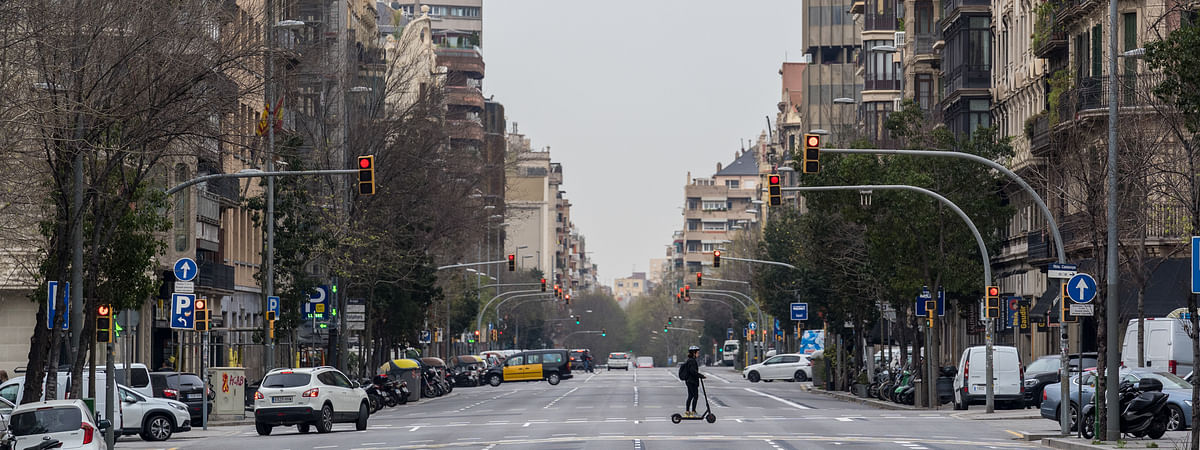 A view of a street in Barcelona, Spain on March 18, 2020.
