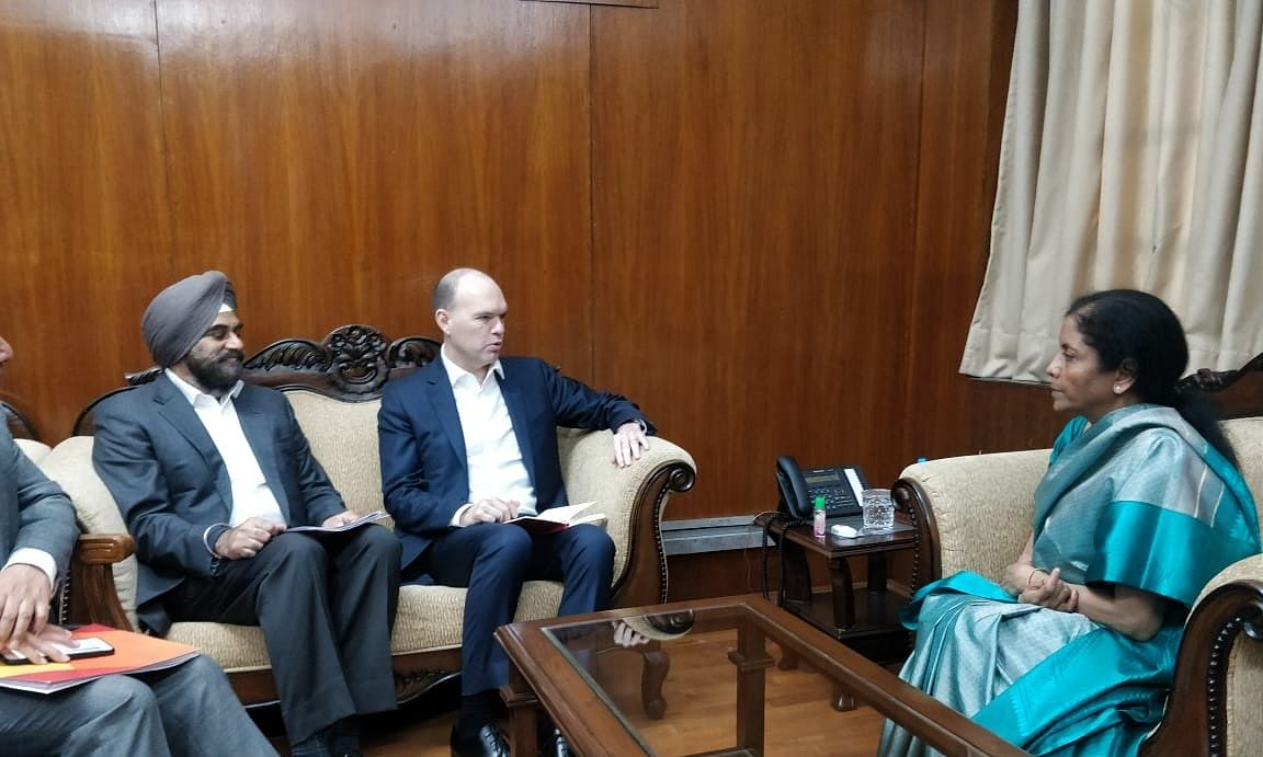 Vodafone Group CEO Nick Reed meeting Finance Nirmala Sitharaman, in New Delhi on March 6, 2020.