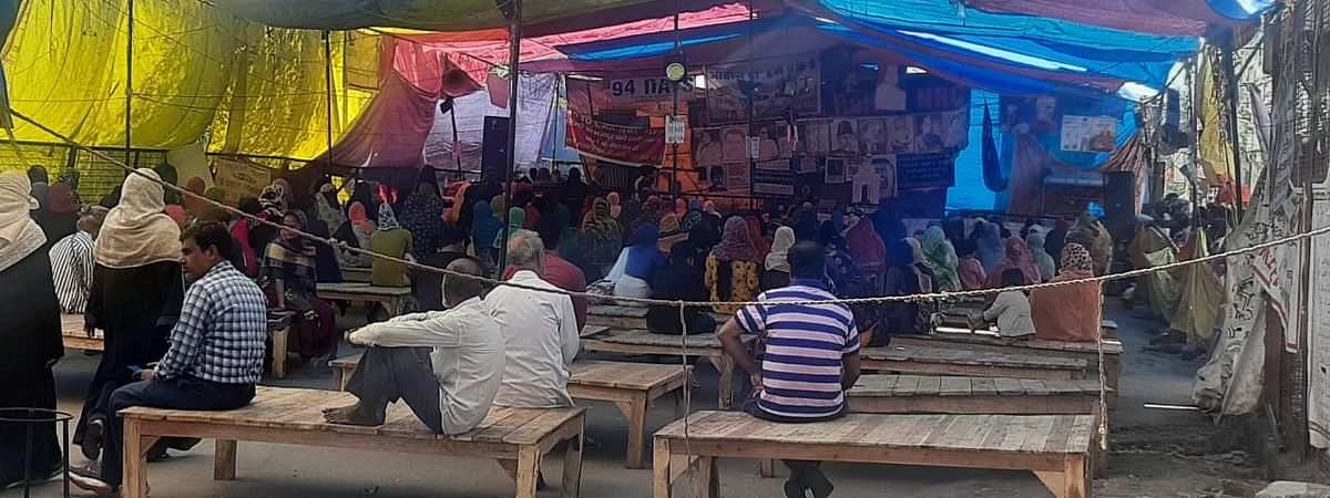 Following the coronavirus outbreak, anti-Citizenship (Amendment) Act (CAA) women protesters at Shaheen Bagh in the national capital are taking precautions and are sitting at a distance of at least one meter from each other, on March 17, 2020.