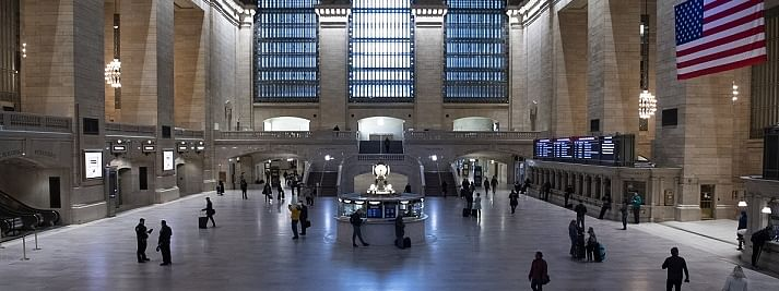 New York's Grand Central Station is almost empty on March 24, 2020 after the city was put under Stay-at-Home orders.