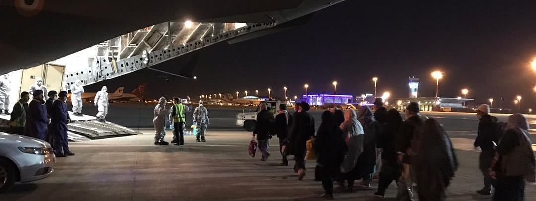 A group of 58 Indians evacuated from Iran who reached Hindon airport near Delhi in an IAF C-17 Globemaster aircraft on March 10, 2020.