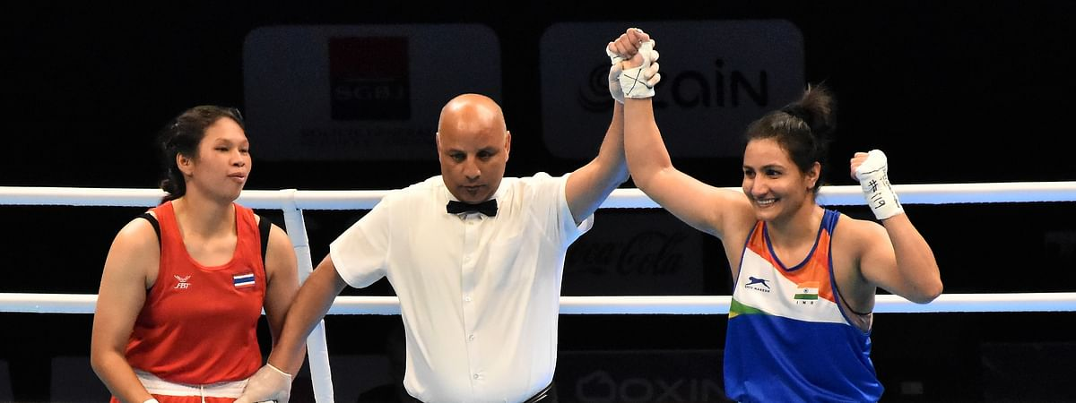 India's Pooja Rani after defeating Thailand's Pornnipa Chutee in the quarter-finals of the Asian-Oceanian Olympic Qualifiers at Amman, Jordan on March 8, 2020