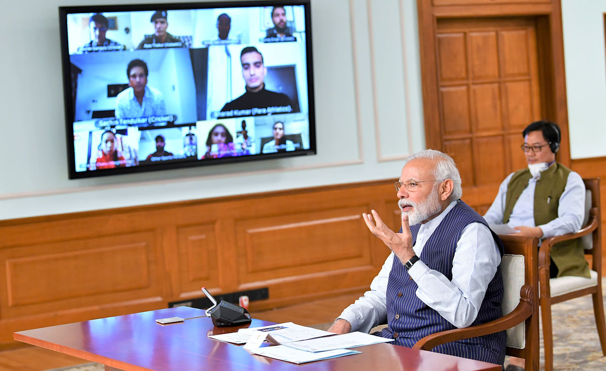Modi asks sportspersons to spread message of positivity and social distancing