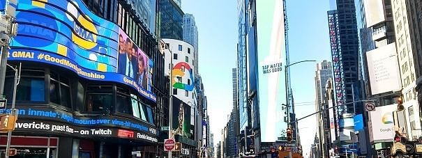 New York's Times Square is almost deserted on Saturday, March 14, 2020, because of the coronavirus pandemic.