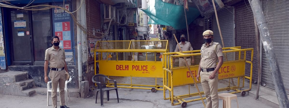 An area in Delhi being sealed by the police as part of the measures to contain the COVID-19 pandemic in the country, on April 14, 2020.