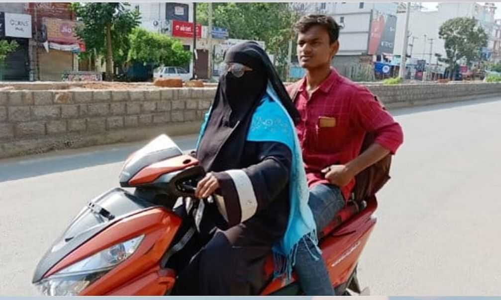 Razia Begum, a school teacher in Bodhan town of Telangana, travelled 1400 on her two-wheeler to bring back her son, Mohammed Nizamuddin, who was stuck in Rehmatabad in Nellore district of Andhra Pradesh, because of the nationwide lockdown imposed to contain the spread of the coronavirus.