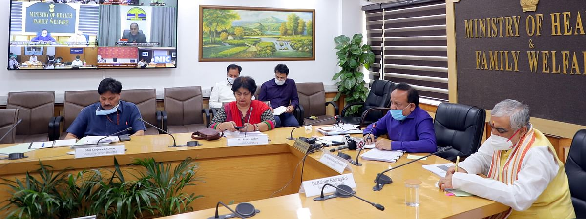 Union Minister for Health & Family Welfare Harsh Vardhan chairing a video conference with States/UTs regarding the steps taken on COVID-19, in New Delhi on April 10, 2020.
