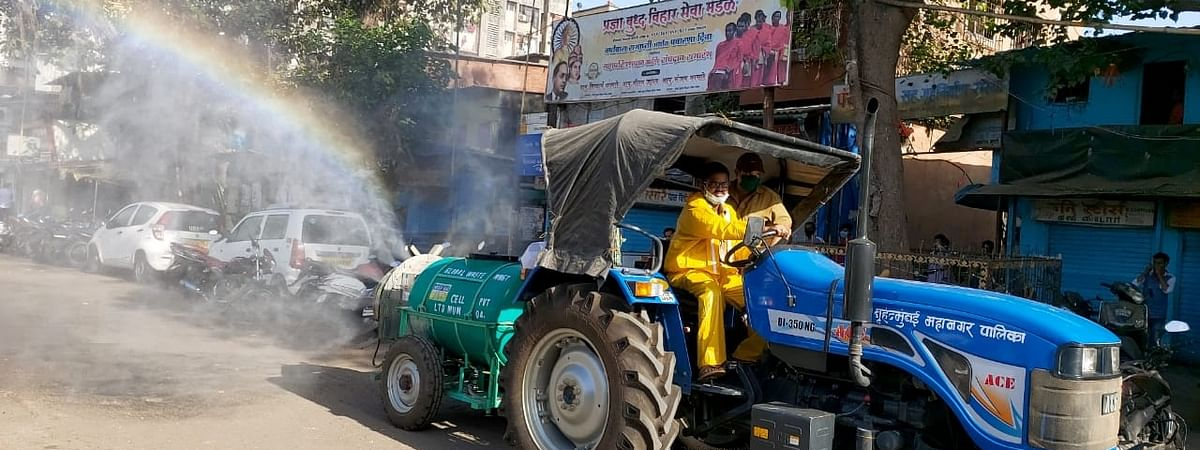 A sanitization drive being conducted by BrihanMumbai Municipal Corporation (BMC) workers in Mumbai's Dharavi, the world's most congested locality and Asia's biggest slum, as part of the efforts to contain the COVID-19 pandemic, on April 8, 2020.