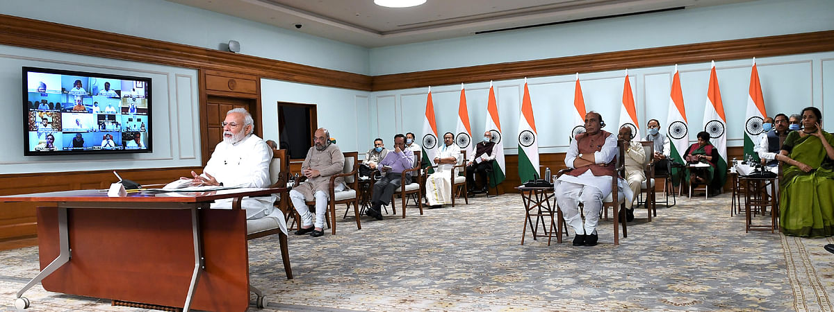 Prime Minister Narendra Modi and his Cabinet colleagues interact with floor leaders of political parties in Parliament on the COVID-19 crisis, in New Delhi on April 8, 2020.
