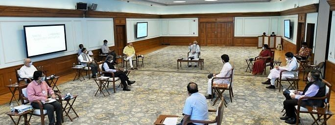 Prime Minister Narendra Modi at a meeting with Ministers and officials in New Delhi on April 30, 2020