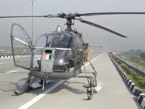 An IAF Cheetah helicopter, which was on COVID-19 duty, seen on the Eastern Peripheral Expressway in Baghpat, Uttar Pradesh, after making a safe emergency landing there, on April 16, 2020.