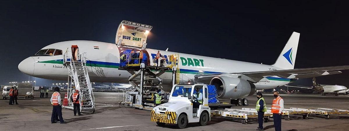 A Blue Dart aircraft transporting essential cargo.