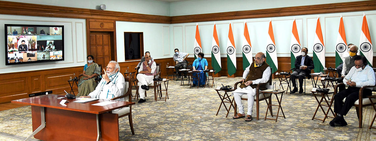 Prime Minister Narendra Modi interacting via video conference with Chief Ministers of States, in New Delhi, on April 27, 2020. Home Minister Amit Shah, Defence Minister Rajnath Singh, Finance Minister Nirmala Sitharaman and Health Minister Harsh Vardhan were also present.
