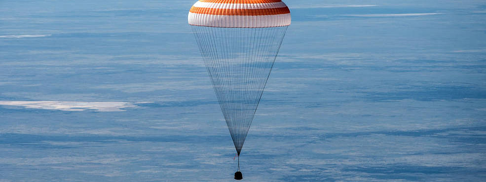 The Soyuz MS-15 spacecraft is seen as it lands in a remote area near the town of Zhezkazgan, Kazakhstan with Expedition 62 crew members Jessica Meir and Drew Morgan of NASA, and Oleg Skripochka of Roscosmos, Friday, April 17, 2020. Meir and Skripochka returned after 205 days in space, and Morgan after 272 days in space. All three served as Expedition 60-61-62 crew members onboard the International Space Station.