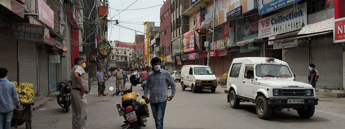 Shops in a market in New Delhi closed during the extended nationwide lockdown imposed to mitigate the spread of coronavirus; in New Delhi on April 25, 2020.
