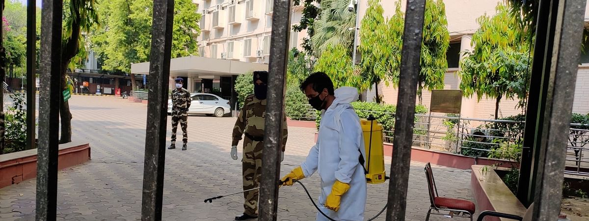 The Niti Aayog building being sealed and sanitised after one of its officials tested positive for COVID-19, in New Delhi on April 28, 2020.