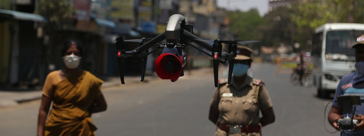 Police using drones for surveilliance in Chennai during the nationwide lockdown to contain the spread of the COVID-19 pandemic, on April 4, 2020.