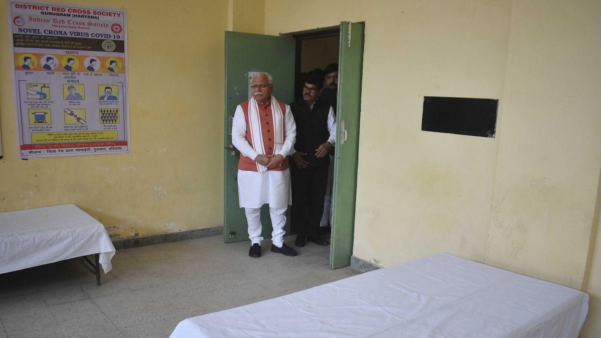 Haryana Chief Minister Manohar Lal Khattar inspectin an isolation ward set up to tackle the spread of COVID-19 (coronavirus), in Gurugram, Haryana on March 16, 2020.