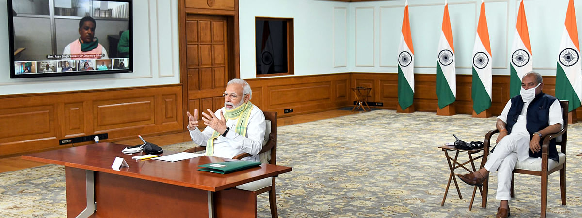 Prime Minister Narendra Modi interacting with Sarpanches from across the country on the occasion of National Panchayati Raj Day 2020 through video-conferencing, in New Delhi on April 24, 2020.