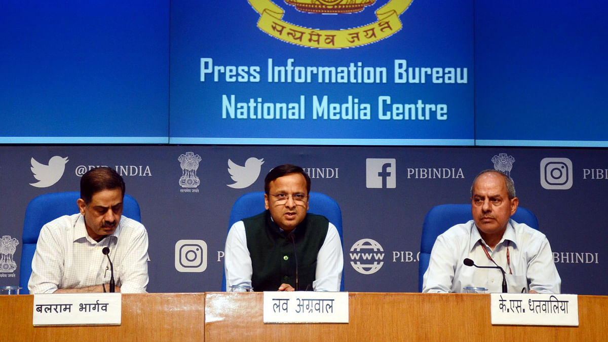 File photo of Lav Kumar, Joint Secretary, addressing  the media in Delhi on the coronavirus (COVID-19) situation.