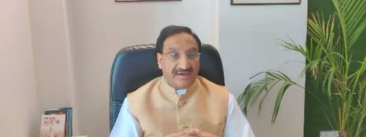 Union Human Resource Development Minister Ramesh Pokhriyal Nishank interacting with parents from across India through video conferencing in New Delhi, on April 27, 2020.