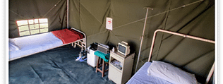 A two-bed tent made by the Ordnance Factory Board (OFB) for COVID-19 screening, isolation and quarantine.