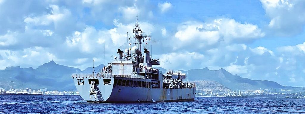 INS Kesari entering Port Louis with COVID-related essential medicines for the people of Mauritius, on May 23, 2020.