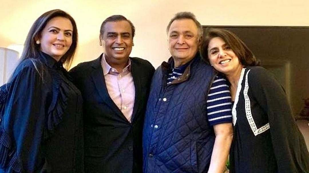 Reliance Industries Limited (RIL) Chairman Mukesh Ambani and his wife Nita Ambani with late actor Rishi Kapoor and his wife Neetu Kapoor, in a picture posted by Neetu Kapoor on Instagram.