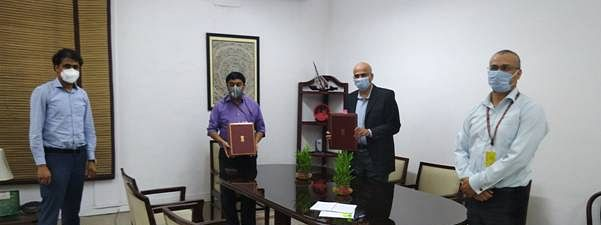 "Sameer Kumar Khare, Additional Secretary, Department of Economic Affairs, Ministry of Finance, and Rajat Misra, Director General (Acting) after signing a $ 500 million ""COVID-19 Emergency Response and Health Systems Preparedness Project"" to help India to respond to the COVID-19 pandemic and strengthen its public health preparedness, in New Delhi on May 8, 2020."