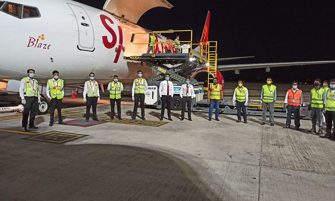 SpiceJet operates maiden freighter flight carrying medical supplies to Bahrain