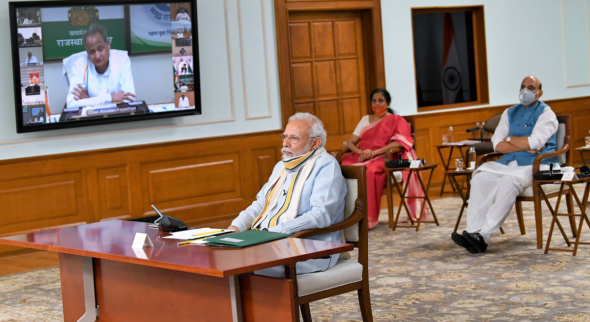 Prime Minister Narendra Modi at a video interaction with Chief Ministers of all States, in New Delhi on May 11, 2020.