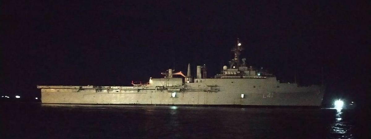 Indian Naval Ship Jalshawa setting sail from Male in the Maldives, bringing 698 stranded Indians to Kochi in Kerala.