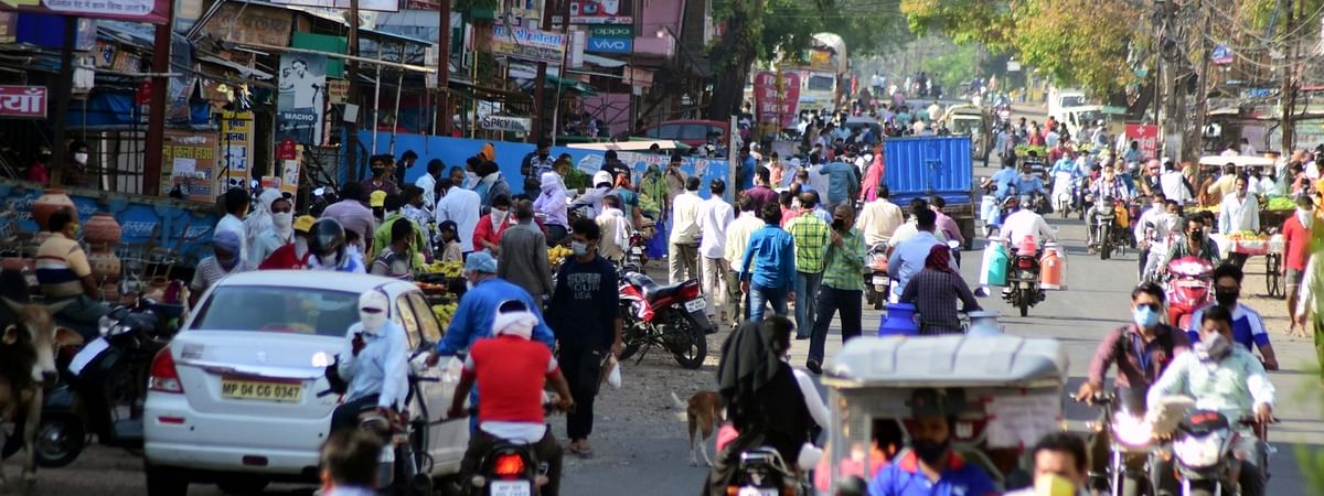 A view of the crowded Berasiya Road in Bhopal, Madhya  Pradesh after the government eased some restrictions during the nationwide lockdown imposed to contain the spread of coronavirus (COVID-19) pandemic, on May 5, 2020.