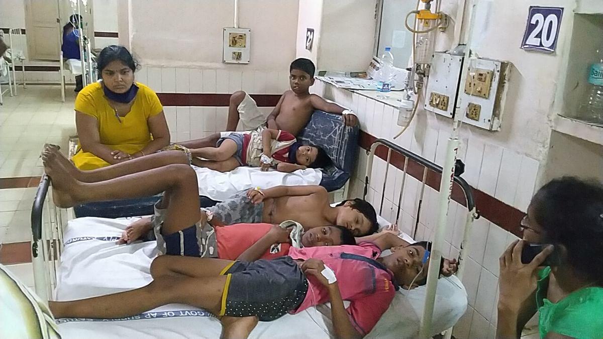 Some of those affected by the gas leak at LG Polymers undergoing treatment at a hospital in Visakhapatnam, on May 7, 2020