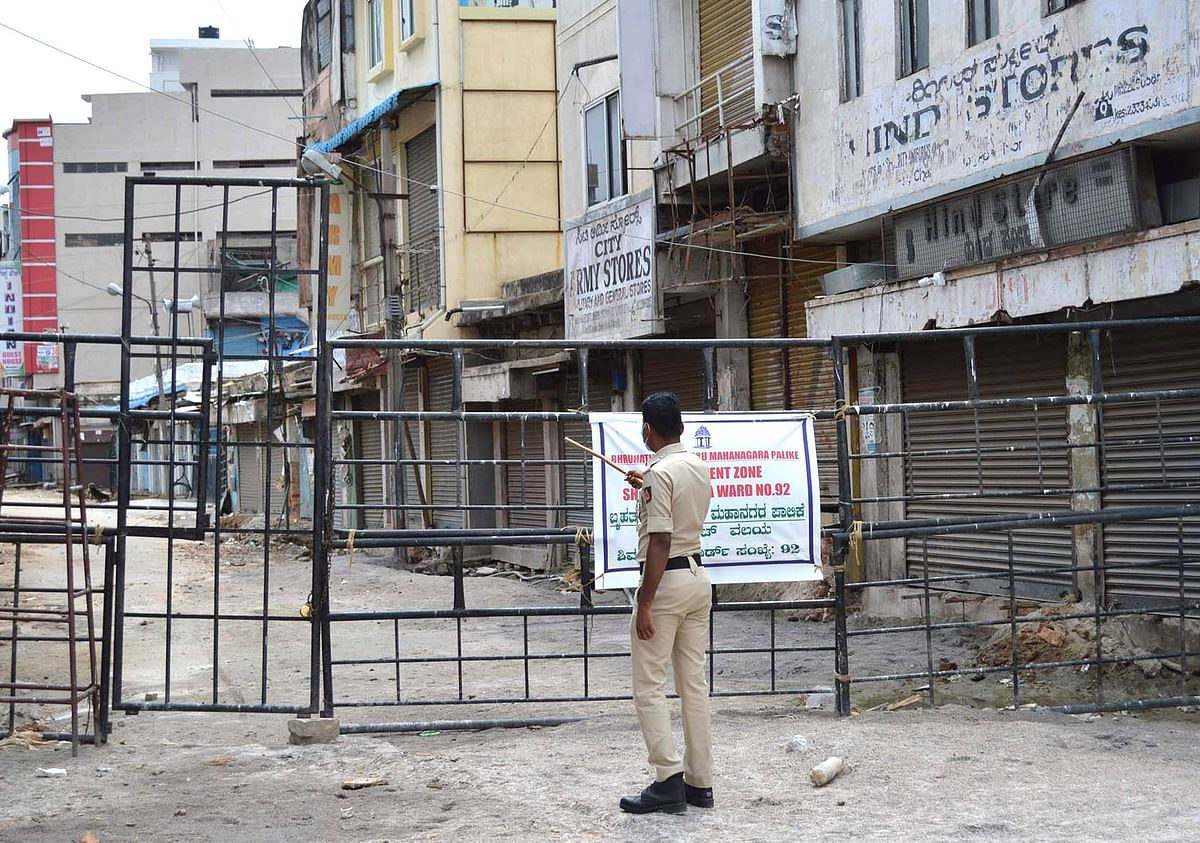 Shivaji Nagar in Bengaluru sealed after the number of people testing COVID-19 positive in the containment zone increased significantly, during the nationwide lockdown imposed to contain the spread of coronavirus, on May 18, 2020.