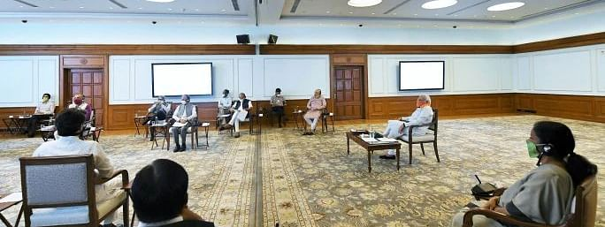 Prime Minister Narendra Modi chairing a meeting on the agriculture sector, in  New Delhi on May 2, 2020.