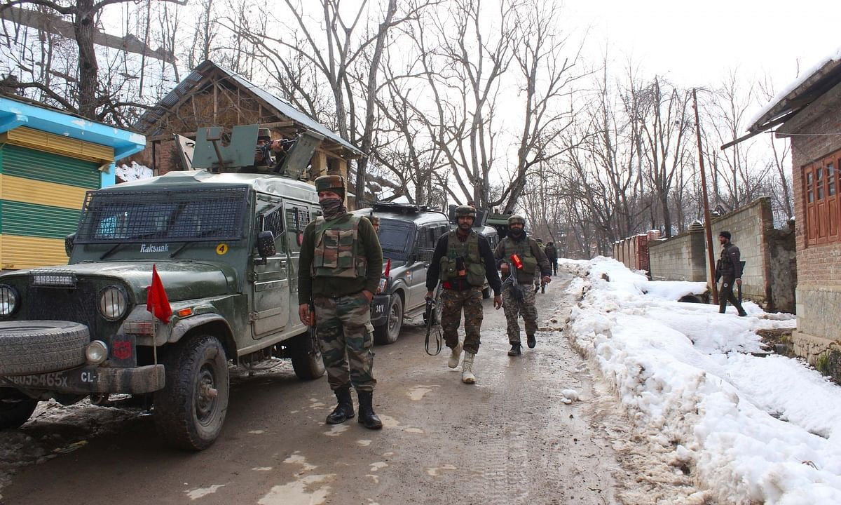 File photo of security forces carrying out cordon and search operations after an encounter with terrorists in Jammu and Kashmir on January 20, 2020.