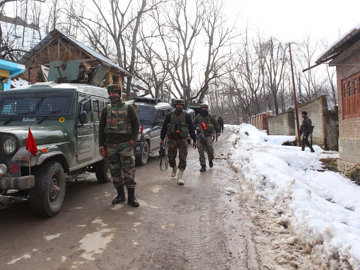 File photo of security forces carrying out cordon and search operations after an encounter with terrorists in Shopian district of Jammu and Kashmir on January 20, 2020.
