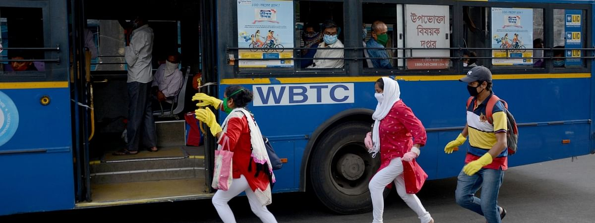 Government bus service on some routes commenced in Kolkata during the nationwide lockdown imposed to contain the spread of coronavirus, on May 13, 2020.
