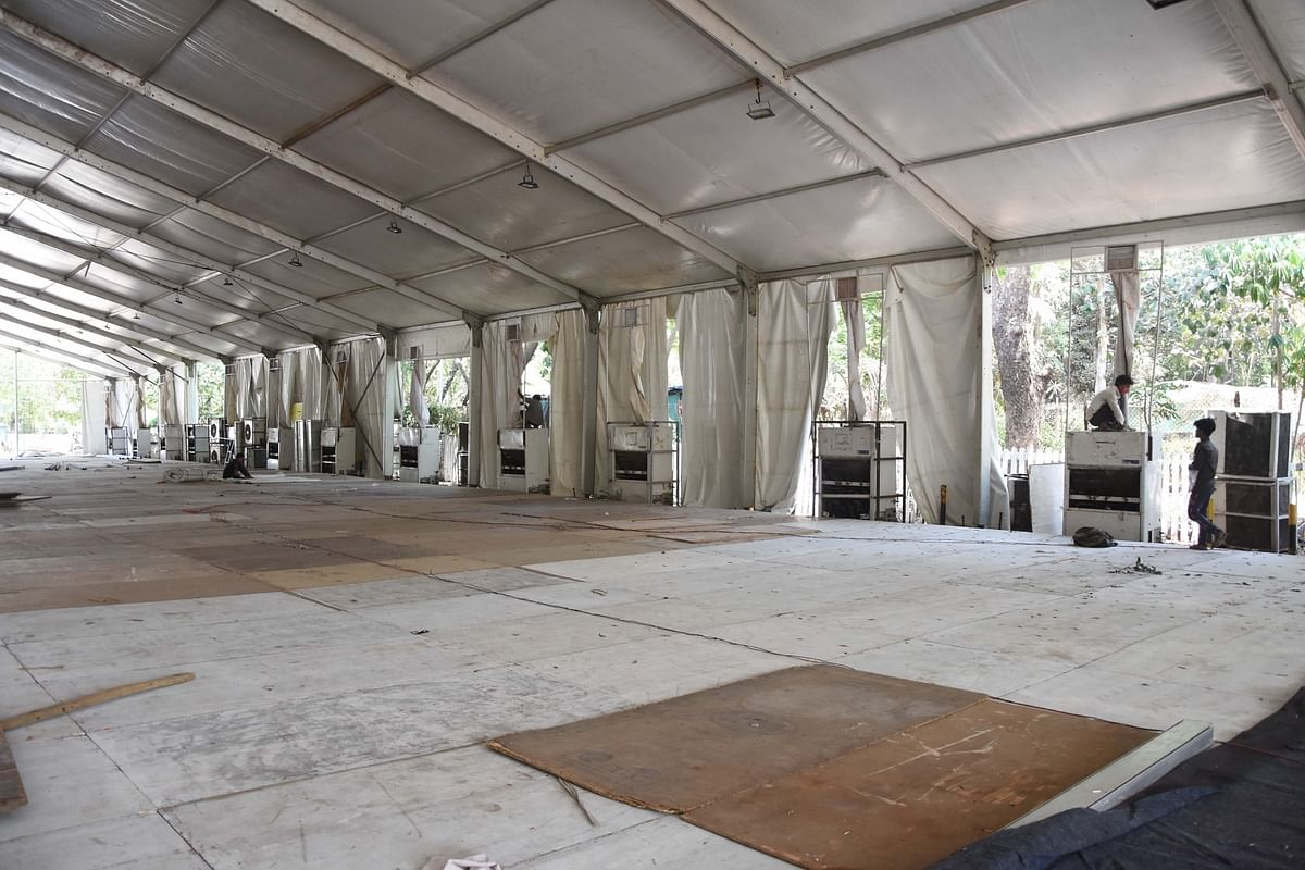 Work in progress to convert the Mahalaxmi racecourse parking space into a quarantine and hospital facility for treating COVID-19 positive patients, in Mumbai on May 11, 2020.