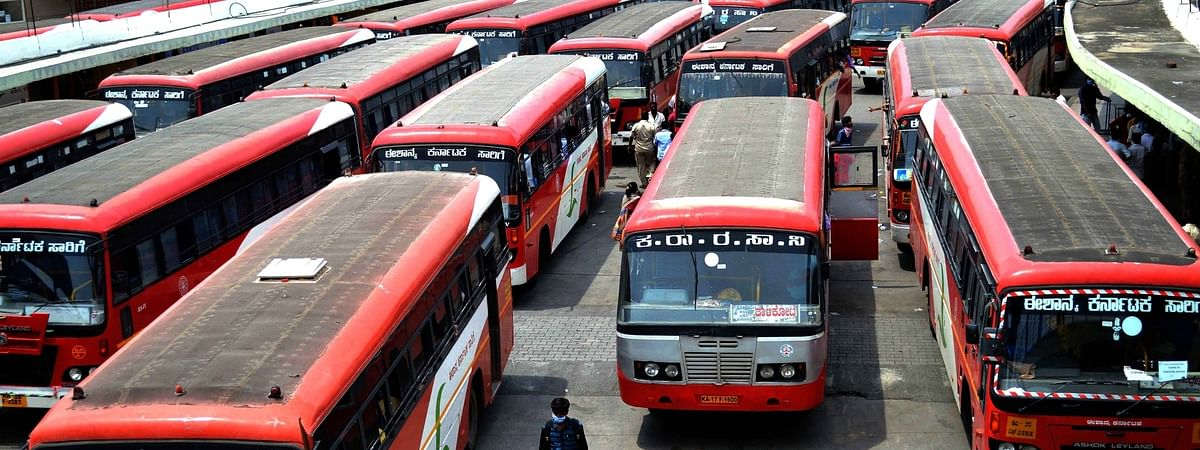 Karnataka State Road Transport Corporation buses lined up to ferry migrant workers to their home towns within the state, in Bengaluru on May 6, 2020.