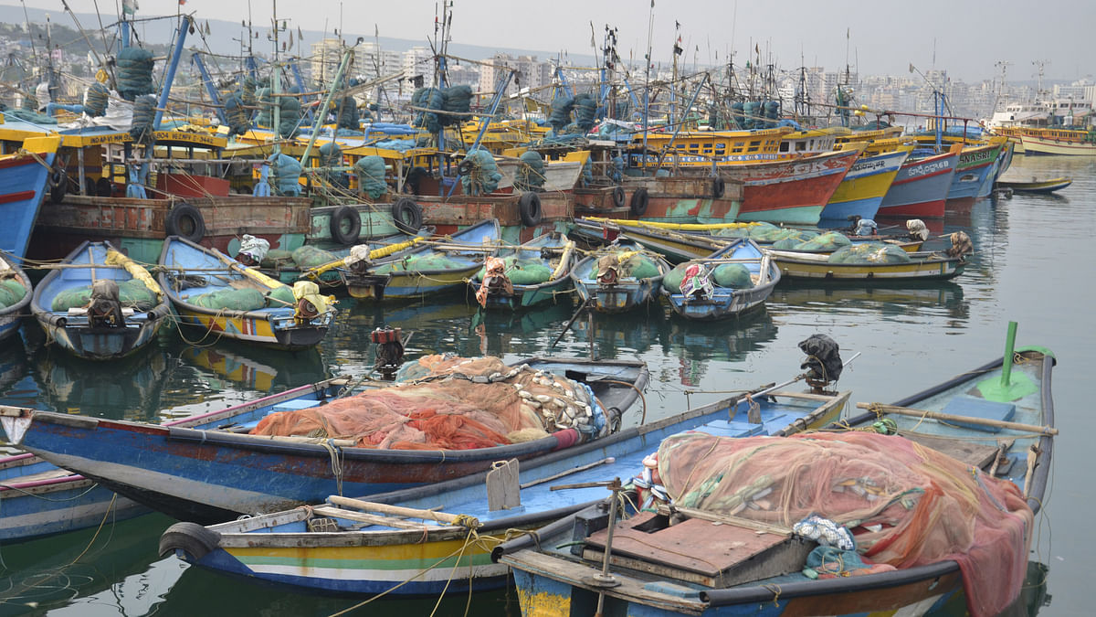 A fishing harbour in Visakhapatnam