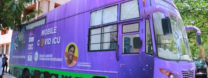 A mobile ICU in a bus for COVID-19 patients, conceptualised by Grace Cancer Foundation and developed in partnership with others, with two ventilators and three beds, in Hyderabad.