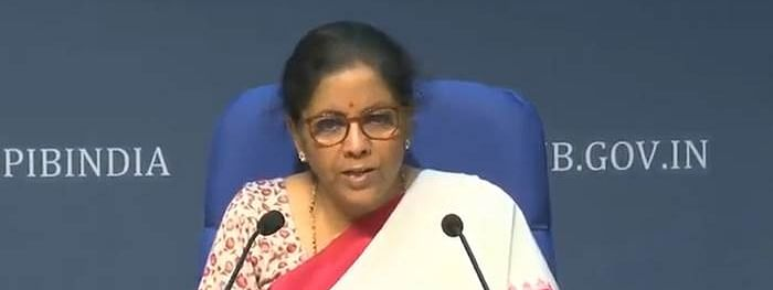 Finance Minister Nirmala Sitharaman addressing a press conference in New Delhi on May 15, 2020.